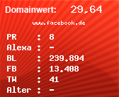Domainbewertung - Domain www.facebook.de bei Domainwert24.net