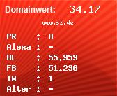 Domainbewertung - Domain www.sz.de bei Domainwert24.net