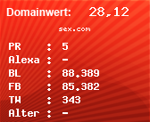 Domainbewertung - Domain sex.com bei Domainwert24.net