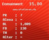 Domainbewertung - Domain www.studieren.de bei Domainwert24.net