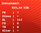 Domainbewertung - Domain www.einsatzticker.de bei Domainwert24.net