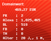 Domainbewertung - Domain bentax.de bei Domainwert24.net